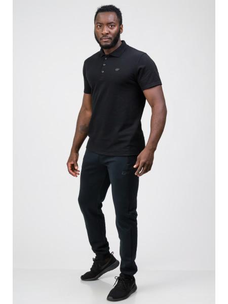 Мужская футболка-поло черная Go Fitness